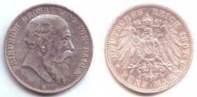 Baden - J 33 - 1907 G - Friedrich I. (1852 - 1907) - 5 Mark - ss