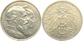 Baden - J 35 - 1906  - Goldene Hochzeit - Friedrich I. (1852 - 1907) - 5 Mark - vz-st