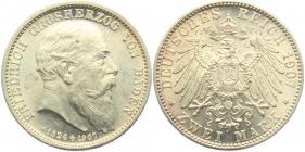 Baden - J 36 - 1907 - Auf den Tod - mit Lebensdaten - Friedrich I. (1852 - 1907) - 2 Mark - st