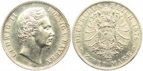 Bayern - J 41 - 1876 D - König Ludwig II. (1864 - 1886) - 2 Mark - f.st min. RF