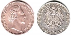 Bayern - J 41 - 1876 D - König Ludwig II. (1864 - 1886) - 2 Mark - vz-st