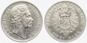 Bayern - J 41 - 1876 D - König Ludwig II. (1864 - 1886) - 2 Mark - vz-Kr.