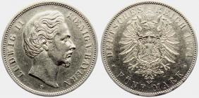 Bayern - J 42 - 1874 D - König Ludwig II. (1864 - 1886) - 5 Mark - f.vz