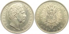 Bayern - J 42 - 1875 D - König Ludwig II. (1864 - 1886) - 5 Mark - vz-st