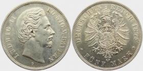 Bayern - J 42 - 1875 D - König Ludwig II. (1864 - 1886) - 5 Mark - vz