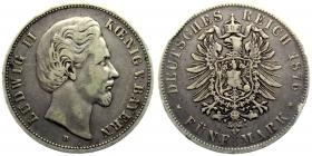 Bayern - J 42 - 1876 D - König Ludwig II. (1864 - 1886) - 5 Mark - ss