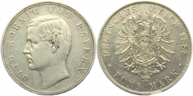 Bayern - J 44 - 1888 D - König Otto (1886 - 1913) - 5 Mark - ss-vz