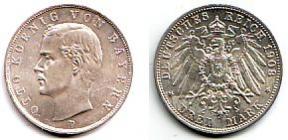 Bayern - J 47 - 1908 D - König Otto (1886 - 1913) - 3 Mark - f.st