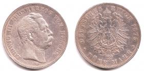 Hessen - J 67 - 1875 H - Ludwig III. (1848 - 1877) - 5 Mark - ss