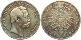 Hessen - J 67 - 1875 H - Ludwig III. (1848 - 1877) - 5 Mark - f.ss