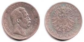 Hessen - J 67 - 1876 H - Ludwig III. (1848 - 1877) - 5 Mark - ss
