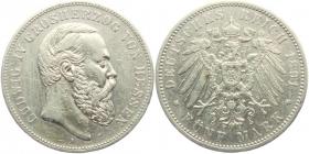 Hessen - J 71 - 1891 A - Ludwig IV. (1877 - 1892) - 5 Mark - ss