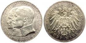 Hessen - J 75 - 1904 - Ernst Ludwig (1892 - 1918) mit Landgraf Philipp - 5 Mark - f.st