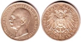Oldenburg - J 95 - 1900 A - Friedrich August (1900 - 1918) - 5 Mark - ss-vz