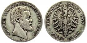 Reuß, ältere Linie - J 116 - 1877 B - Heinrich XXII. (1867 - 1902) - 2 Mark - ss