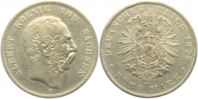 Sachsen - J 122 - 1875 E - Albert (1873 - 1902) - 5 Mark - ss