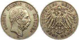 Sachsen - J 125 - 1899 E - Albert (1873 - 1902) - 5 Mark - ss+ min. RF