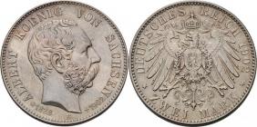 Sachsen - J 127 - 1902 E - Albert (1873 - 1902) - Auf den Tod - mit Lebensdaten - 2 Mark - vz