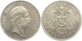 Sachsen - J 130 - 1903 E - Georg (1902 - 1904) - 5 Mark - vz