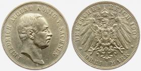 Sachsen - J 135 - 1909 E - Friedrich August III. (1904 - 1913) - 3 Mark - vz