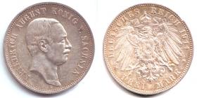 Sachsen - J 135 - 1911 E - Friedrich August III. (1904 - 1913) - 3 Mark - vz min. RF