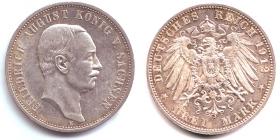 Sachsen - J 135 - 1912 E - Friedrich August III. (1904 - 1913) - 3 Mark - vz-st