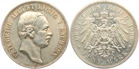 Sachsen - J 136 - 1908 E - Friedrich August III. (1904 - 1913) - 5 Mark - vz