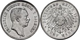 Sachsen - J 136 - 1914 E - Friedrich August III. (1904 - 1913) - 5 Mark - f.st min. RF