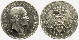Sachsen - J 136 - 1914 E - Friedrich August III. (1904 - 1913) - 5 Mark - ss+