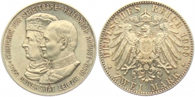 Sachsen - J 138 - 1909  - Friedrich August III. (1904 - 1913) - Uni Leipzig - 2 Mark - st