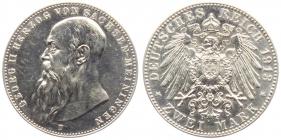 Sachsen-Meiningen - J 151b - 1902 D - Georg II. (1866 - 1914) - 2 Mark - f.st min. Kratzerchen