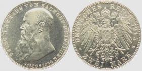 Sachsen-Meiningen - J 154 - 1915 - Georg II. (1866 - 1914) - Auf den Tod mit Lebensdaten - 2 Mark - f.st min.Kr.