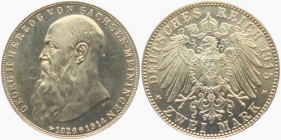 Sachsen-Meiningen - J 154 - 1915 D - Georg II. (1866 - 1914) - Auf den Tod mit Lebensdaten - 2 Mark - f.st - Druckst.