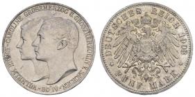 Sachsen-Weimar-Eisenach - J 159 - 1903 A - Wilhelm Ernst (1901 - 1918) - Hochzeit mit Caroline von Reuß - 5 Mark - vz min. RF