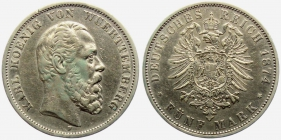 Württemberg - J 173 - 1874 F - Karl (1864 - 1891) - 5 Mark - ss-vz min. RF