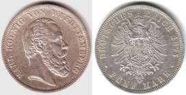 Württemberg - J 173 - 1875 F - Karl (1864 - 1891) - 5 Mark - gutes vz