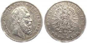 Württemberg - J 173 - 1875 F - Karl (1864 - 1891) - 5 Mark - ss