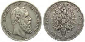 Württemberg - J 173 - 1876 F - Karl (1864 - 1891) - 5 Mark - ss+