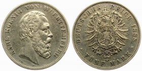 Württemberg - J 173 - 1888 F - Karl (1864 - 1891) - 5 Mark - ss-vz