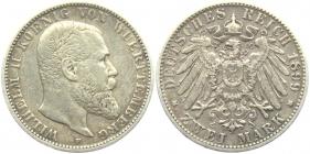 Württemberg - J 174 - 1899 F - Wilhelm II. (1891 - 1918) - 2 Mark - ss-vz