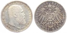 Württemberg - J 174 - 1900 F - Wilhelm II. (1891 - 1918) - 2 Mark - ss-vz min. RF