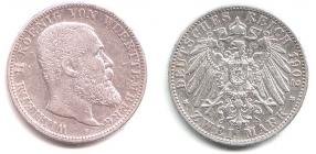 Württemberg - J 174 - 1902 F - Wilhelm II. (1891 - 1918) - 2 Mark - ss