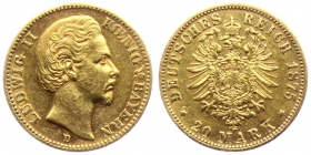 Bayern - J 197 - 1875 D - Ludwig II. (1864 - 1886) - 20 Mark - ss+
